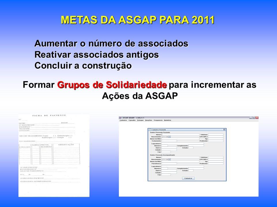 METAS DA ASGAP PARA 2011 Aumentar o número de associados Reativar associados antigos Concluir a construção Formar Grupos de Solidariedade para increme