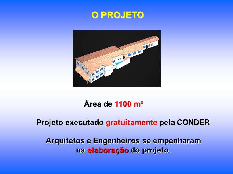 O PROJETO Área de 1100 m² Projeto executado gratuitamente pela CONDER Arquitetos e Engenheiros se empenharam na elaboração do projeto.