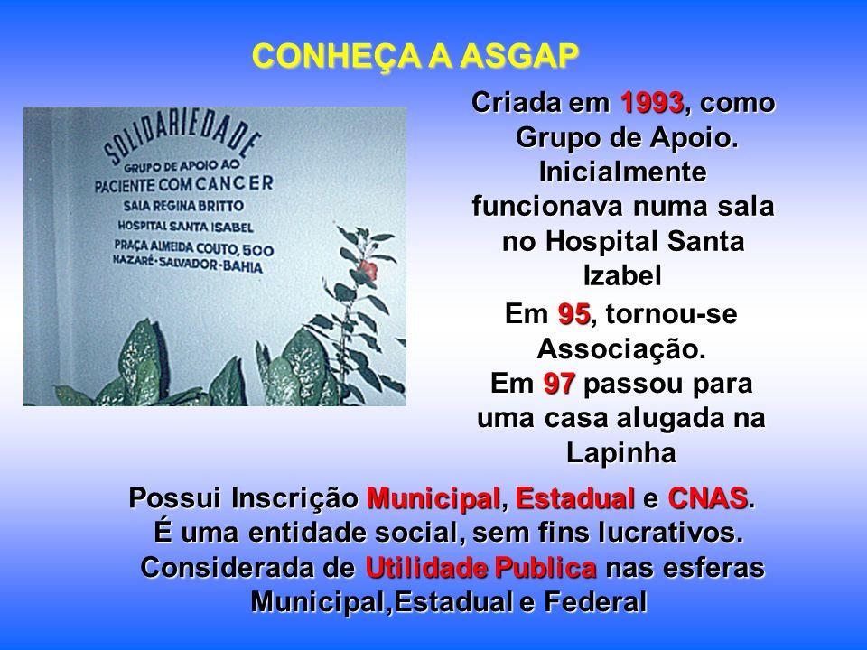 É uma entidade social, sem fins lucrativos. Considerada de Utilidade Publica nas esferas Municipal,Estadual e Federal Criada em 1993, como Grupo de Ap