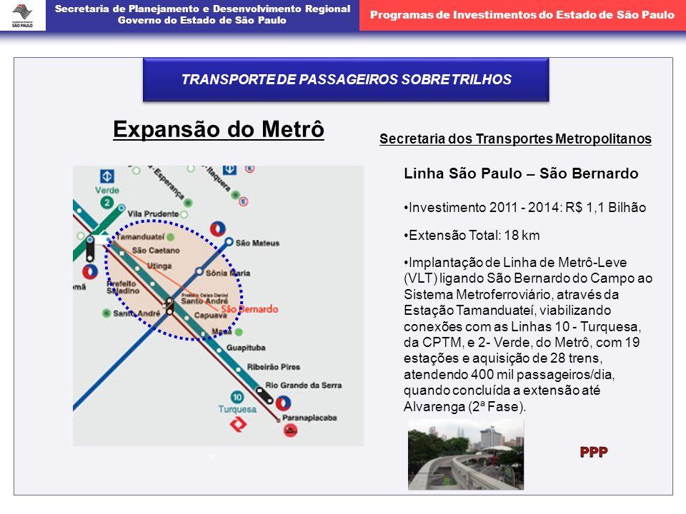 Secretaria de Planejamento e Desenvolvimento Regional Governo do Estado de São Paulo Programas de Investimentos do Estado de São Paulo 17 Expansão do