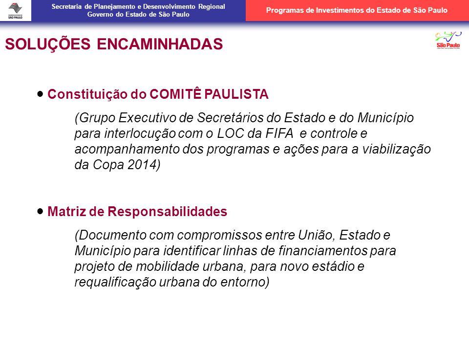 Matriz de Responsabilidade Compromissos Assumidos -GESP e PMSP: Mobilidade Urbana -União: Aeroportos e Portos -Corinthians: Estádio Secretaria de Planejamento e Desenvolvimento Regional Governo do Estado de São Paulo Programas de Investimentos do Estado de São Paulo