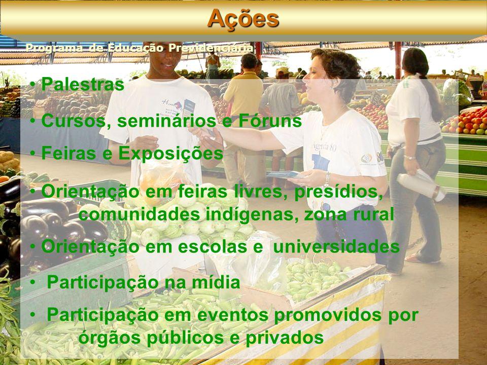 Participação em eventos promovidos por órgãos públicos e privados Palestras Cursos, seminários e Fóruns Feiras e Exposições Orientação em feiras livres, presídios, comunidades indígenas, zona rural Orientação em escolas e universidades Participação na mídiaAções