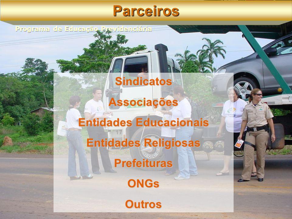 Sindicatos Associações Entidades Educacionais Entidades Religiosas Prefeituras ONGs OutrosParceiros