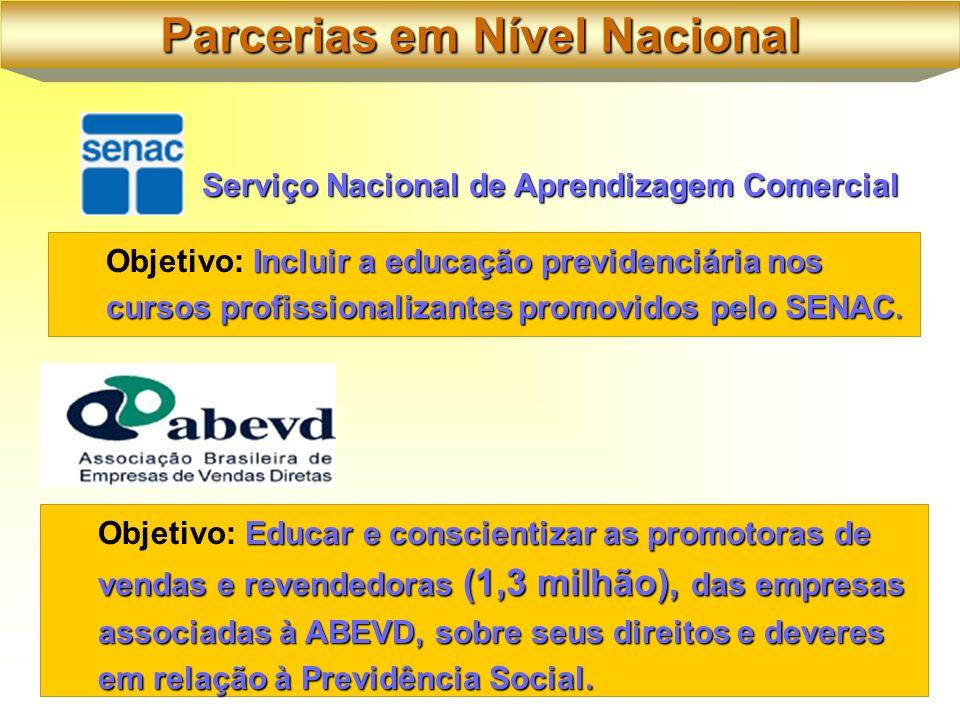 Serviço Nacional de Aprendizagem Comercial Educar e conscientizar as promotoras de vendas e revendedoras (1,3 milhão), das empresas associadas à ABEVD, sobre seus direitos e deveres em relação à Previdência Social.