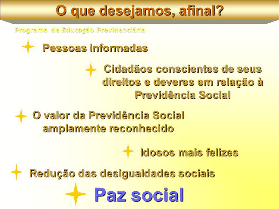 Pessoas informadas Idosos mais felizes Cidadãos conscientes de seus direitos e deveres em relação à Previdência Social O valor da Previdência Social amplamente reconhecido Redução das desigualdades sociais Paz social O que desejamos, afinal