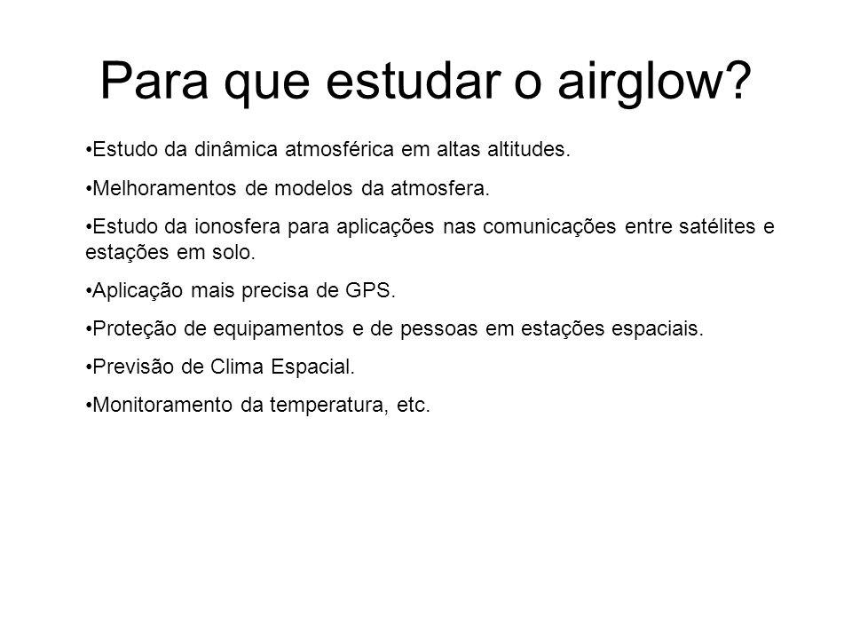 Para que estudar o airglow? Estudo da dinâmica atmosférica em altas altitudes. Melhoramentos de modelos da atmosfera. Estudo da ionosfera para aplicaç