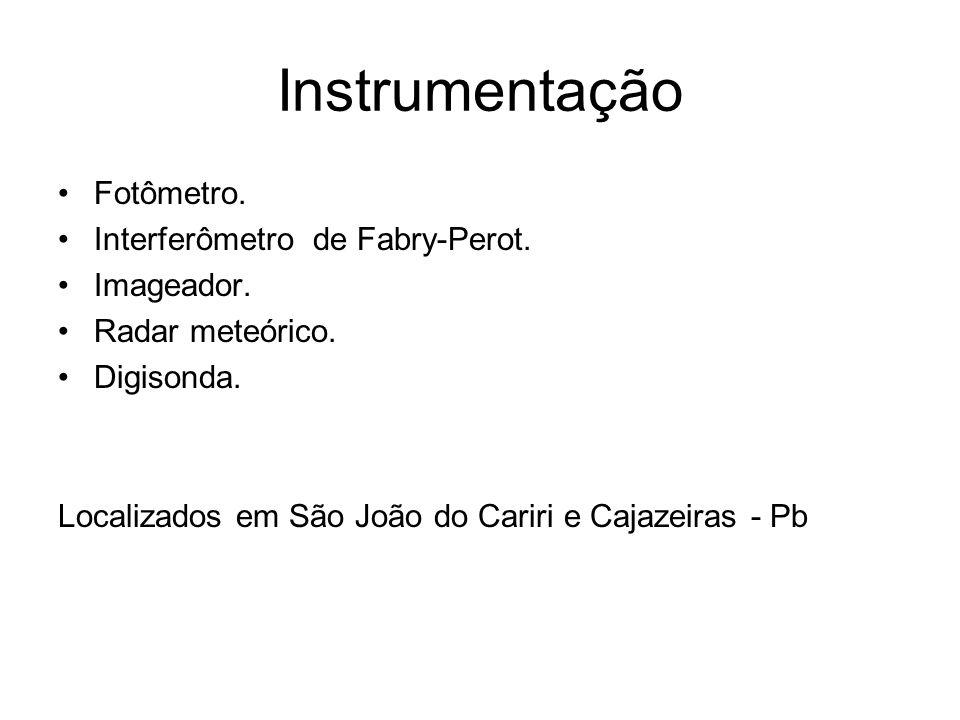 Instrumentação Fotômetro. Interferômetro de Fabry-Perot. Imageador. Radar meteórico. Digisonda. Localizados em São João do Cariri e Cajazeiras - Pb
