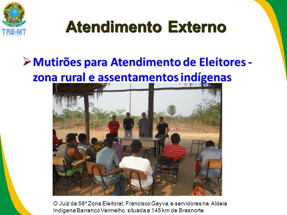 Atendimento Externo Mutirões para Atendimento de Eleitores - zona rural e assentamentos indígenas Mutirões para Atendimento de Eleitores - zona rural