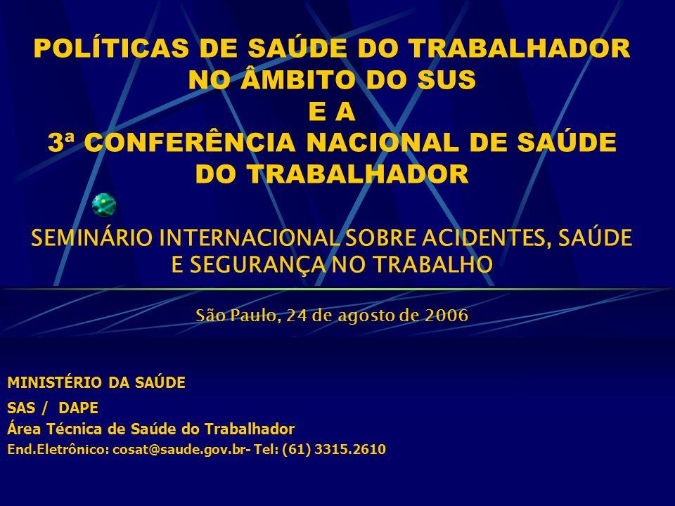 POLÍTICAS DE SAÚDE DO TRABALHADOR NO ÂMBITO DO SUS E A 3ª CONFERÊNCIA NACIONAL DE SAÚDE DO TRABALHADOR SEMINÁRIO INTERNACIONAL SOBRE ACIDENTES, SAÚDE E SEGURANÇA NO TRABALHO São Paulo, 24 de agosto de 2006 MINISTÉRIO DA SAÚDE SAS / DAPE Área Técnica de Saúde do Trabalhador End.Eletrônico: cosat@saude.gov.br- Tel: (61) 3315.2610