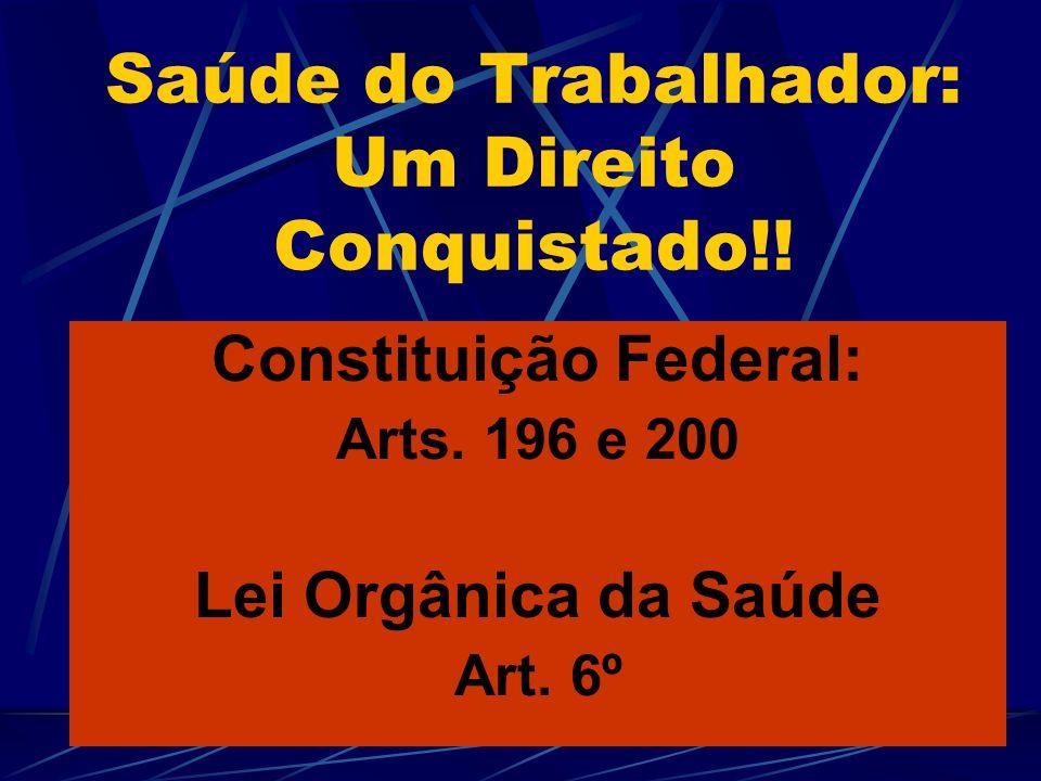 Saúde do Trabalhador: Um Direito Conquistado!.Constituição Federal: Arts.