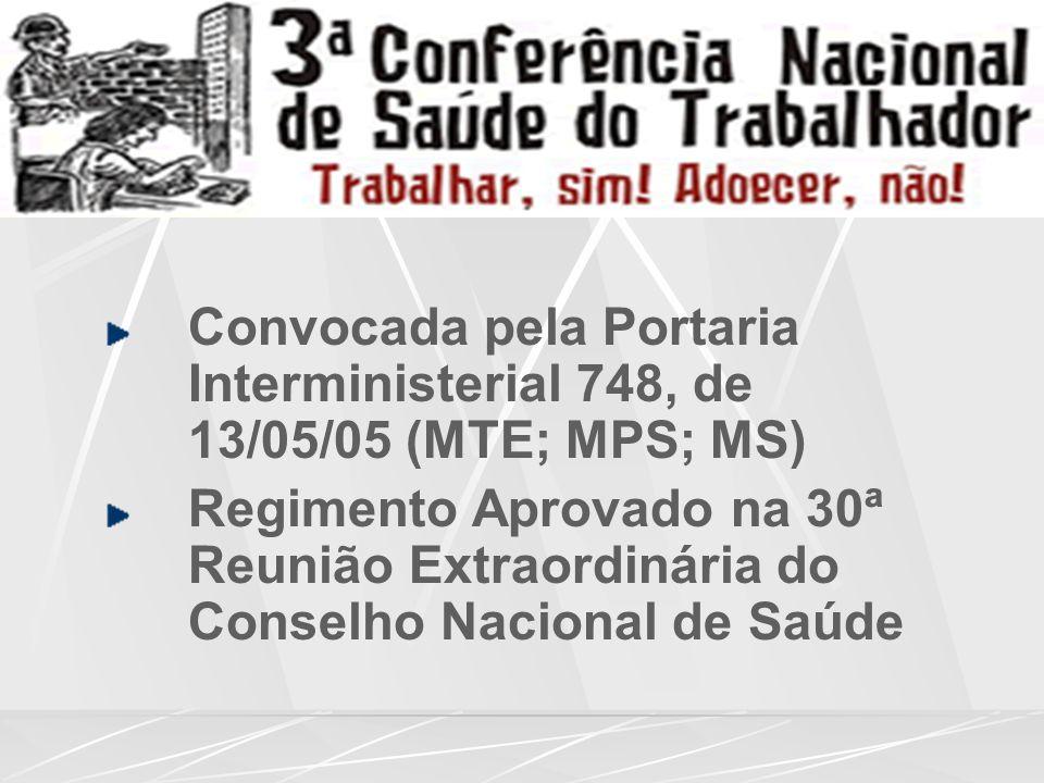 Convocada pela Portaria Interministerial 748, de 13/05/05 (MTE; MPS; MS) Regimento Aprovado na 30ª Reunião Extraordinária do Conselho Nacional de Saúde