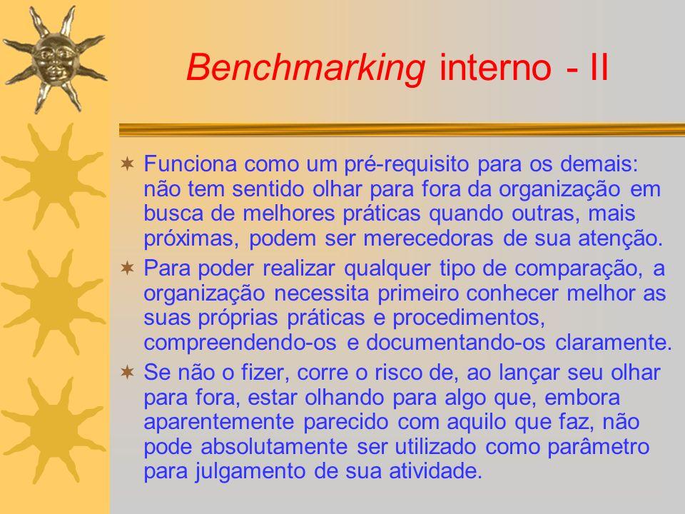 Benchmarking interno - II Funciona como um pré-requisito para os demais: não tem sentido olhar para fora da organização em busca de melhores práticas