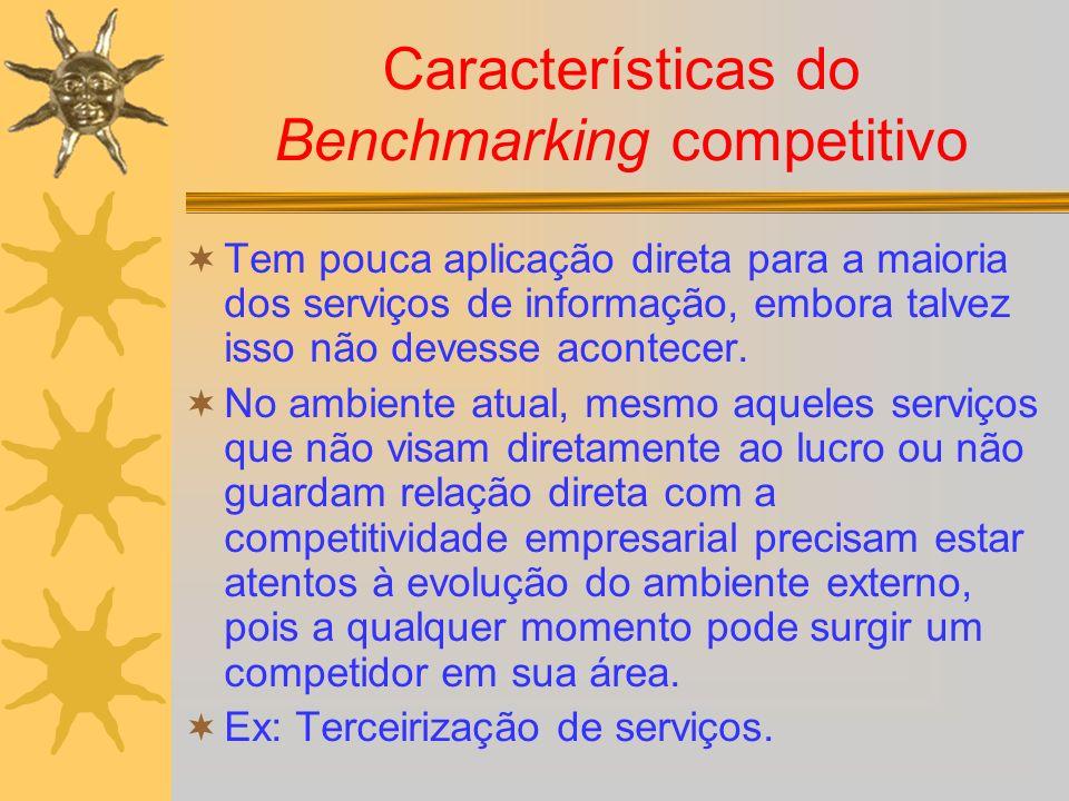 Características do Benchmarking competitivo Tem pouca aplicação direta para a maioria dos serviços de informação, embora talvez isso não devesse acont