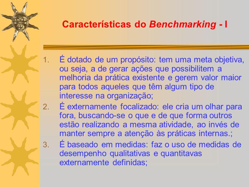 Características do Benchmarking - I 1. É dotado de um propósito: tem uma meta objetiva, ou seja, a de gerar ações que possibilitem a melhoria da práti