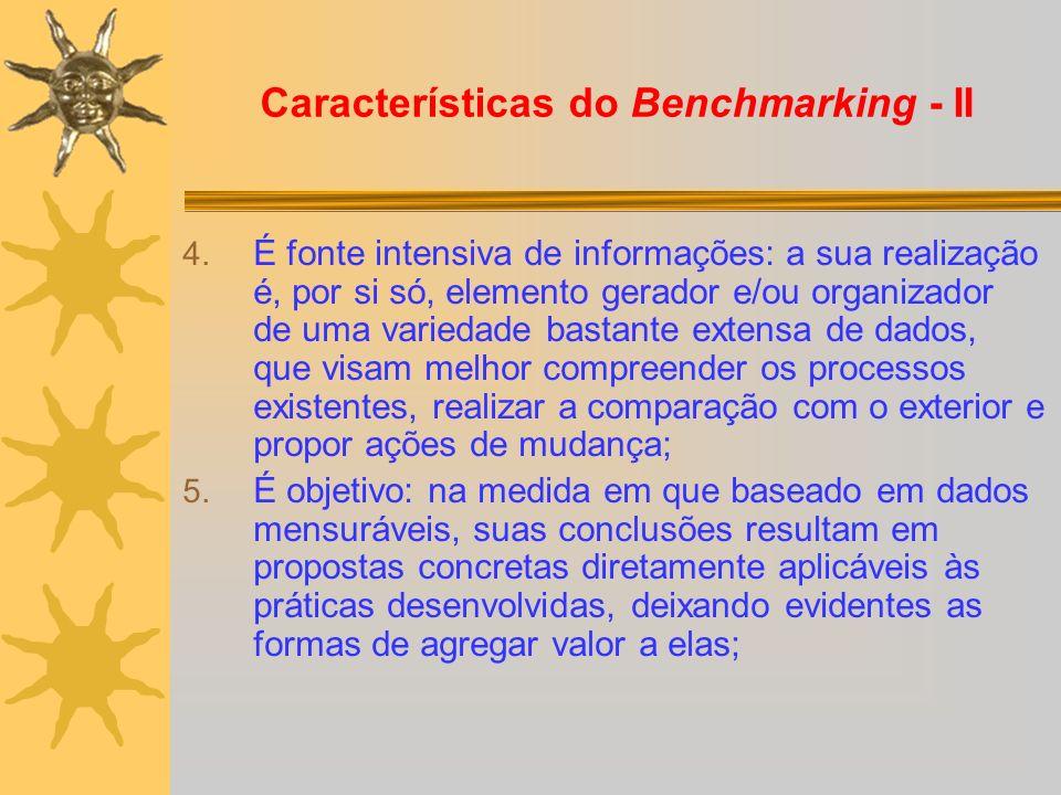 Características do Benchmarking - II 4. É fonte intensiva de informações: a sua realização é, por si só, elemento gerador e/ou organizador de uma vari