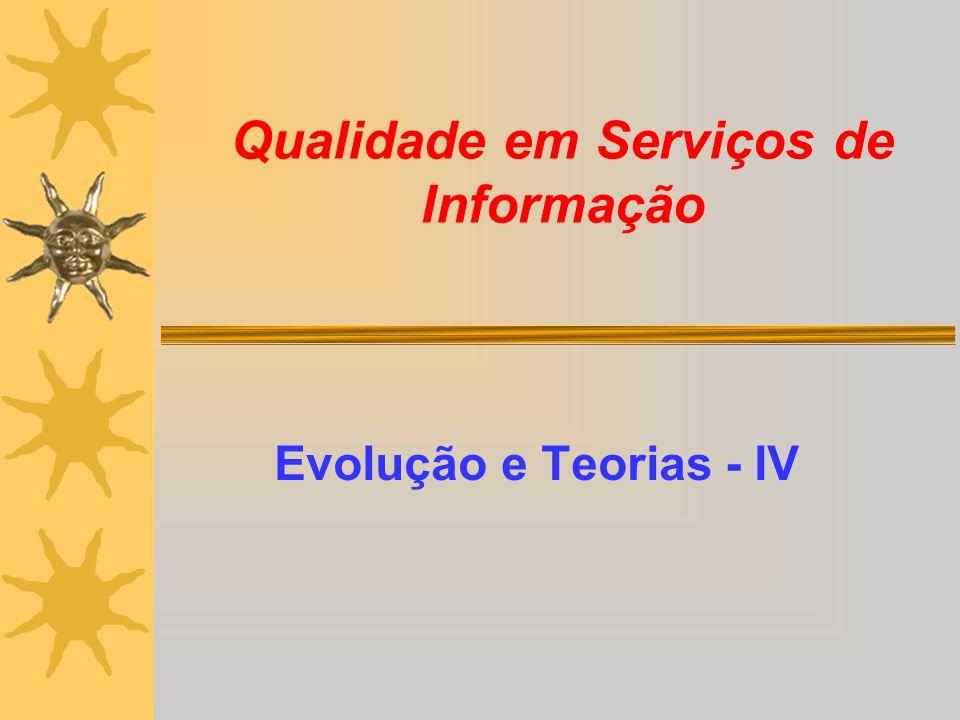 Qualidade em Serviços de Informação Evolução e Teorias - IV