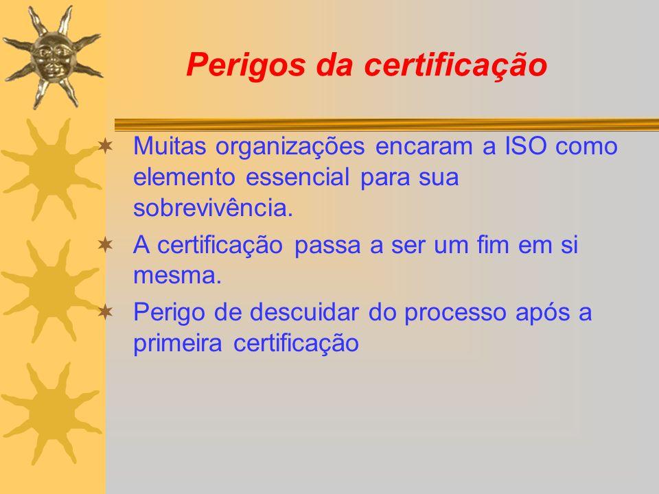 Perigos da certificação Muitas organizações encaram a ISO como elemento essencial para sua sobrevivência. A certificação passa a ser um fim em si mesm
