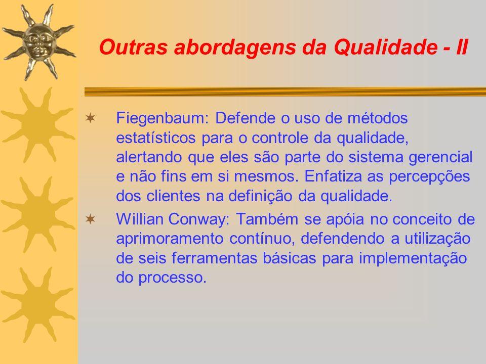 Outras abordagens da Qualidade - II Fiegenbaum: Defende o uso de métodos estatísticos para o controle da qualidade, alertando que eles são parte do si