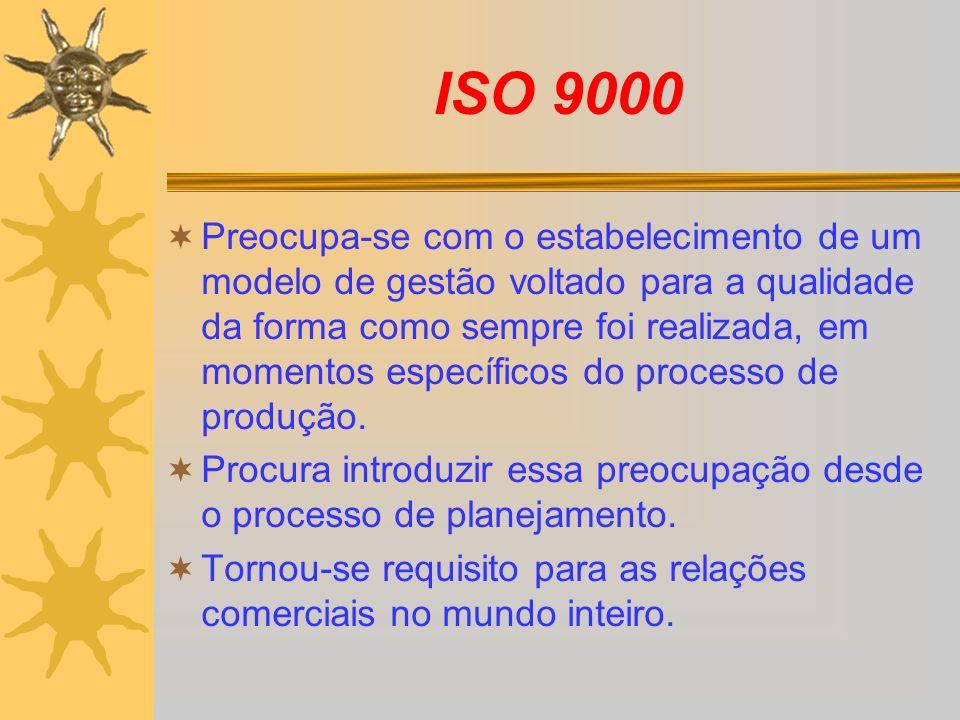 ISO 9000 Preocupa-se com o estabelecimento de um modelo de gestão voltado para a qualidade da forma como sempre foi realizada, em momentos específicos