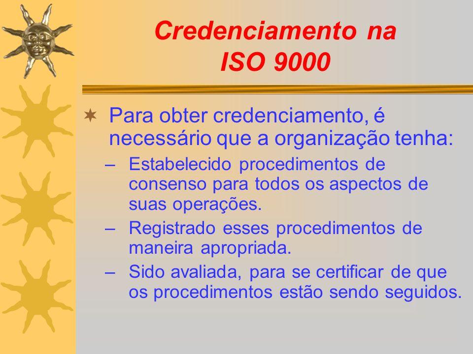 Credenciamento na ISO 9000 Para obter credenciamento, é necessário que a organização tenha: –Estabelecido procedimentos de consenso para todos os aspe