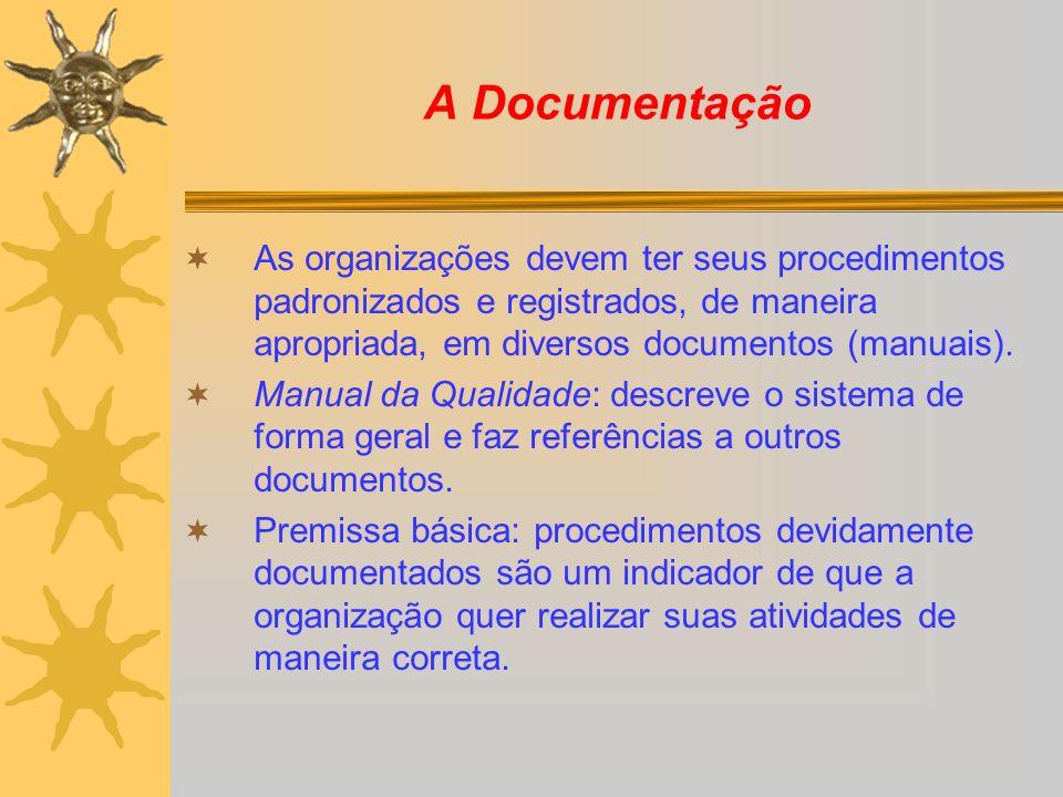 A Documentação As organizações devem ter seus procedimentos padronizados e registrados, de maneira apropriada, em diversos documentos (manuais). Manua