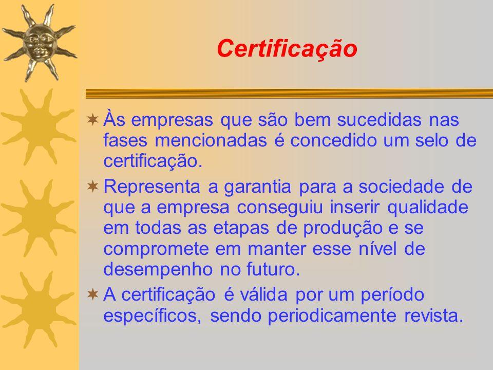 Certificação Às empresas que são bem sucedidas nas fases mencionadas é concedido um selo de certificação. Representa a garantia para a sociedade de qu