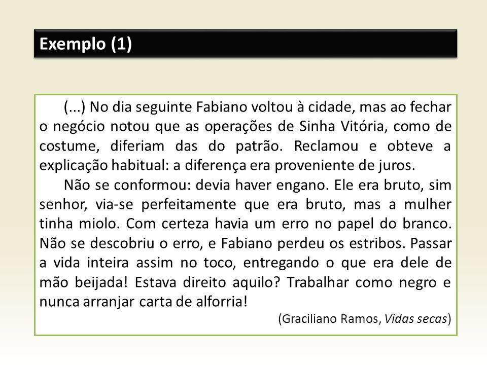 Exemplo (1) (...) No dia seguinte Fabiano voltou à cidade, mas ao fechar o negócio notou que as operações de Sinha Vitória, como de costume, diferiam