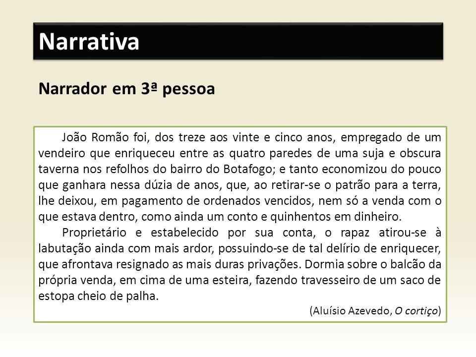 Narrador em 3ª pessoa Narrativa João Romão foi, dos treze aos vinte e cinco anos, empregado de um vendeiro que enriqueceu entre as quatro paredes de u