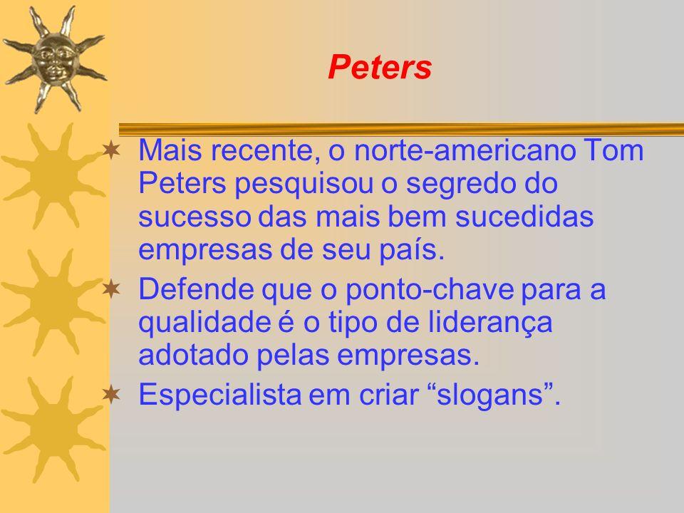 Peters Mais recente, o norte-americano Tom Peters pesquisou o segredo do sucesso das mais bem sucedidas empresas de seu país. Defende que o ponto-chav