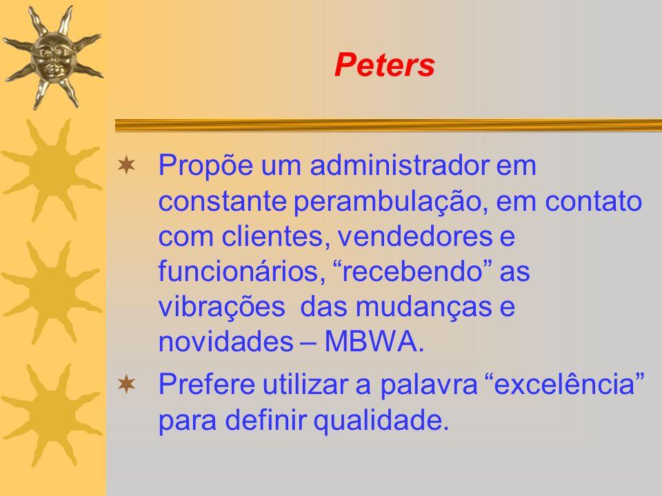 Peters Propõe um administrador em constante perambulação, em contato com clientes, vendedores e funcionários, recebendo as vibrações das mudanças e no