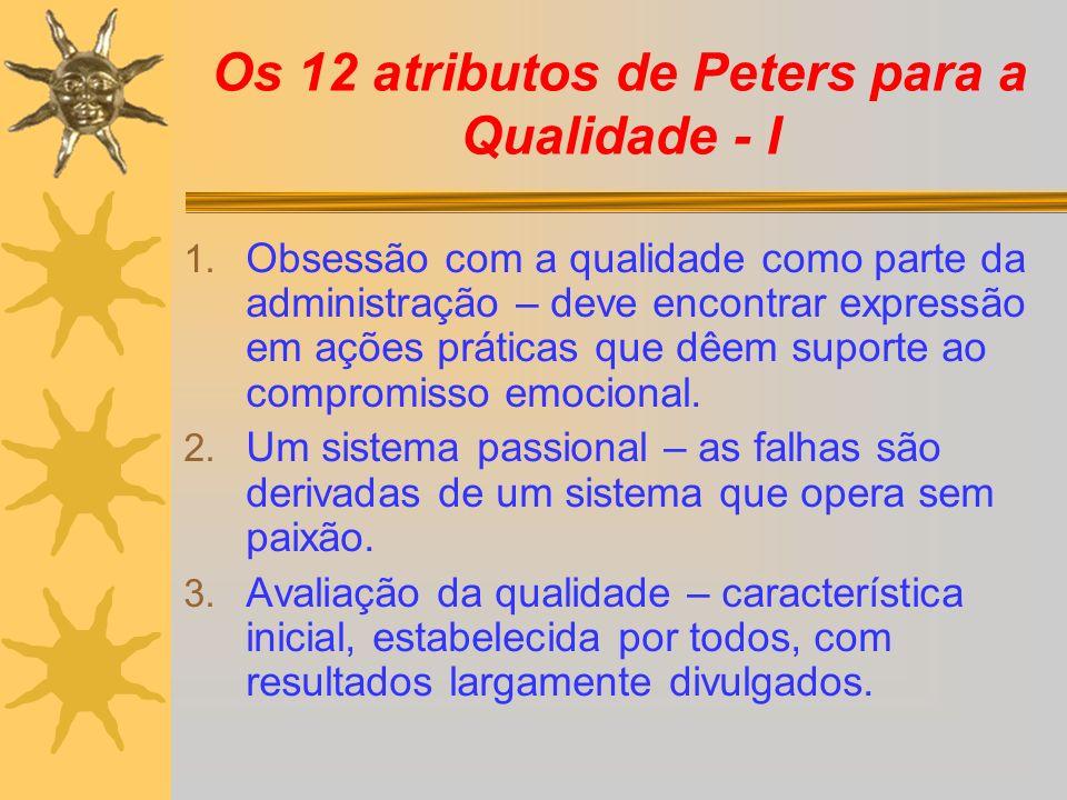 Os 12 atributos de Peters para a Qualidade - I 1. Obsessão com a qualidade como parte da administração – deve encontrar expressão em ações práticas qu