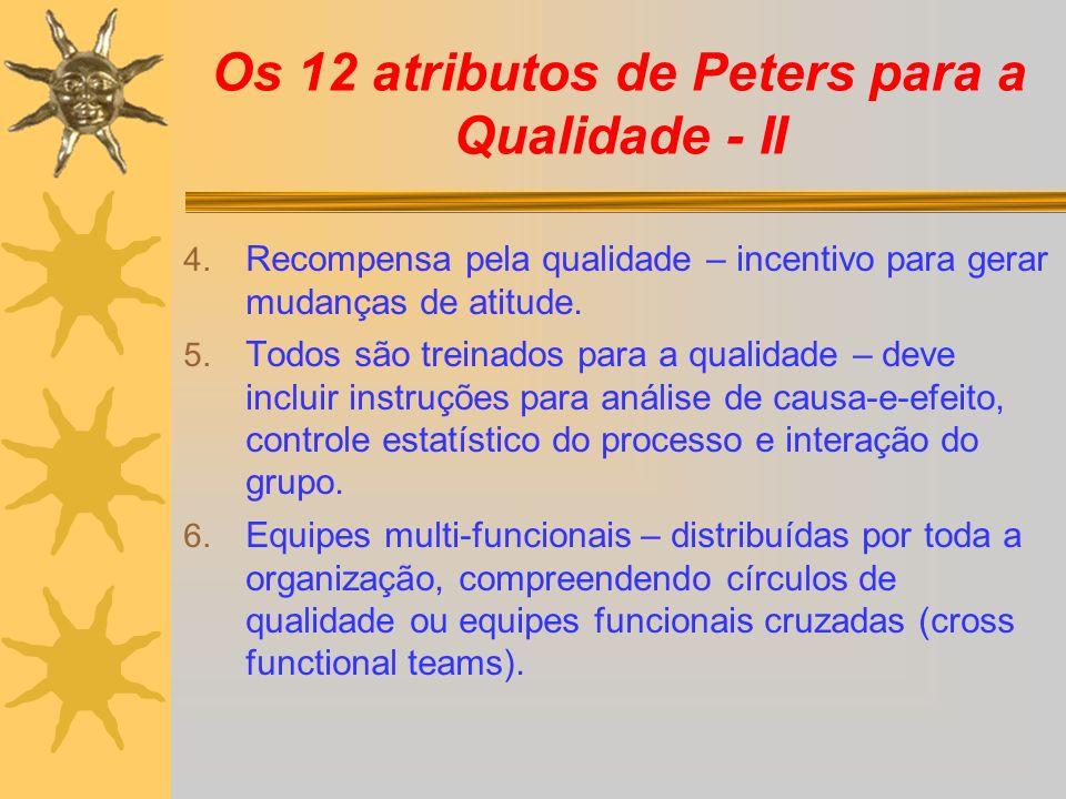 Os 12 atributos de Peters para a Qualidade - II 4. Recompensa pela qualidade – incentivo para gerar mudanças de atitude. 5. Todos são treinados para a