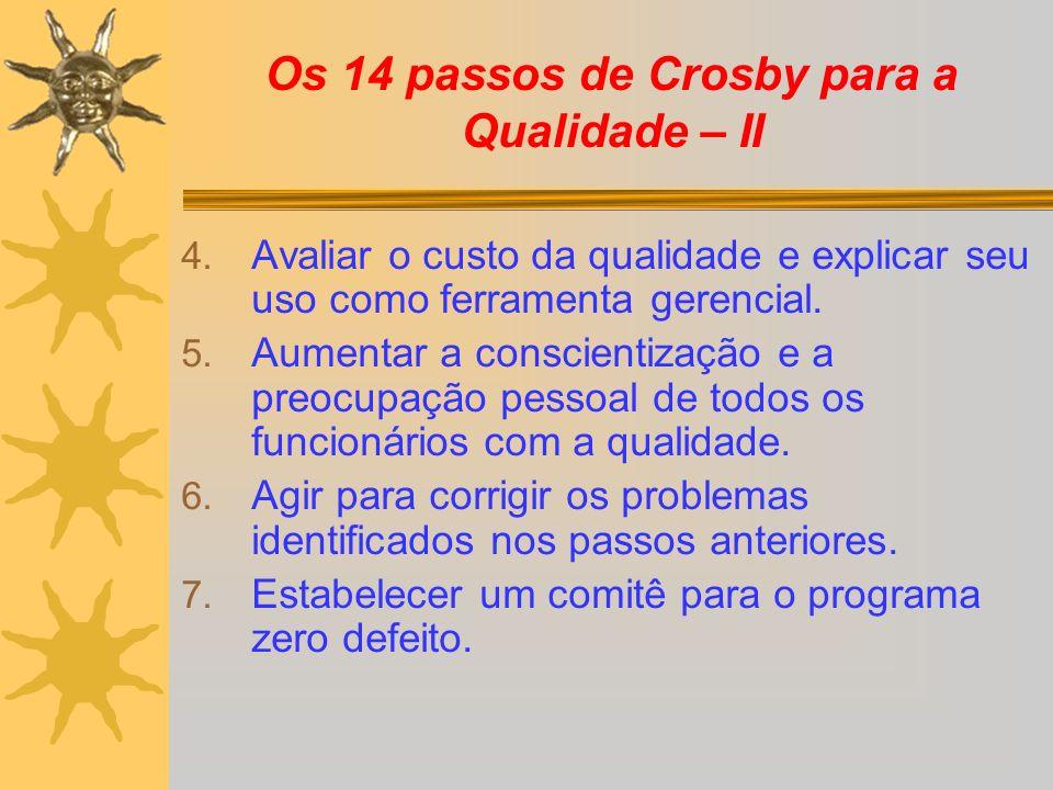 Os 14 passos de Crosby para a Qualidade – II 4. Avaliar o custo da qualidade e explicar seu uso como ferramenta gerencial. 5. Aumentar a conscientizaç
