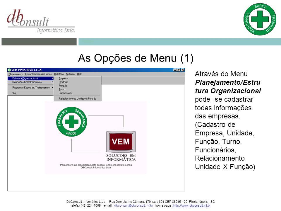 As Opções de Menu (1) Através do Menu Planejamento/Estru tura Organizacional pode -se cadastrar todas informações das empresas.