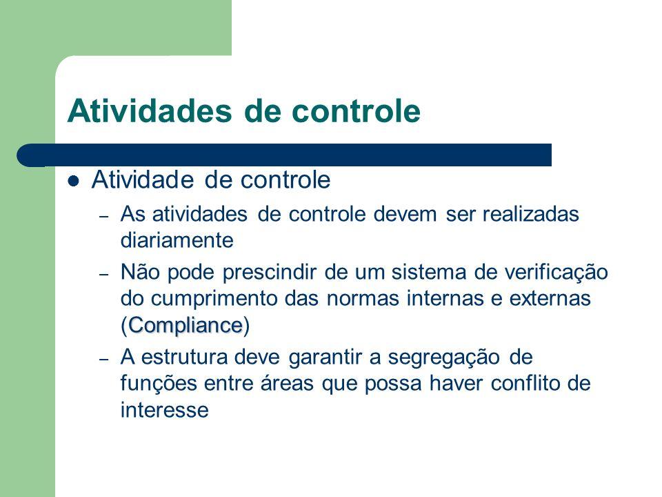 Atividades de controle Atividade de controle – As atividades de controle devem ser realizadas diariamente Compliance – Não pode prescindir de um siste