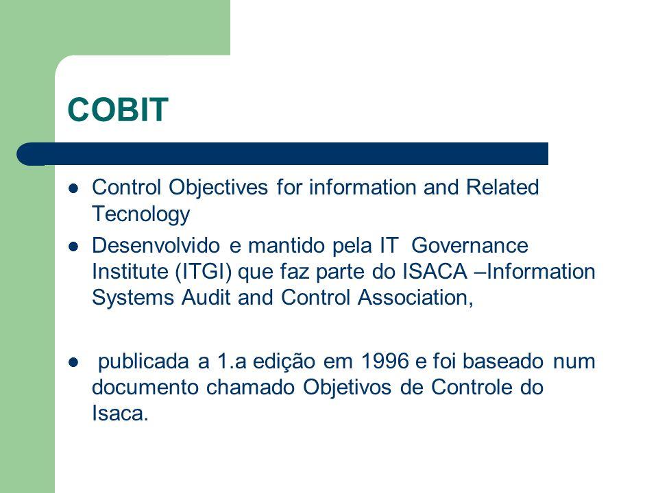 Control Objectives for information and Related Tecnology Desenvolvido e mantido pela IT Governance Institute (ITGI) que faz parte do ISACA –Informatio