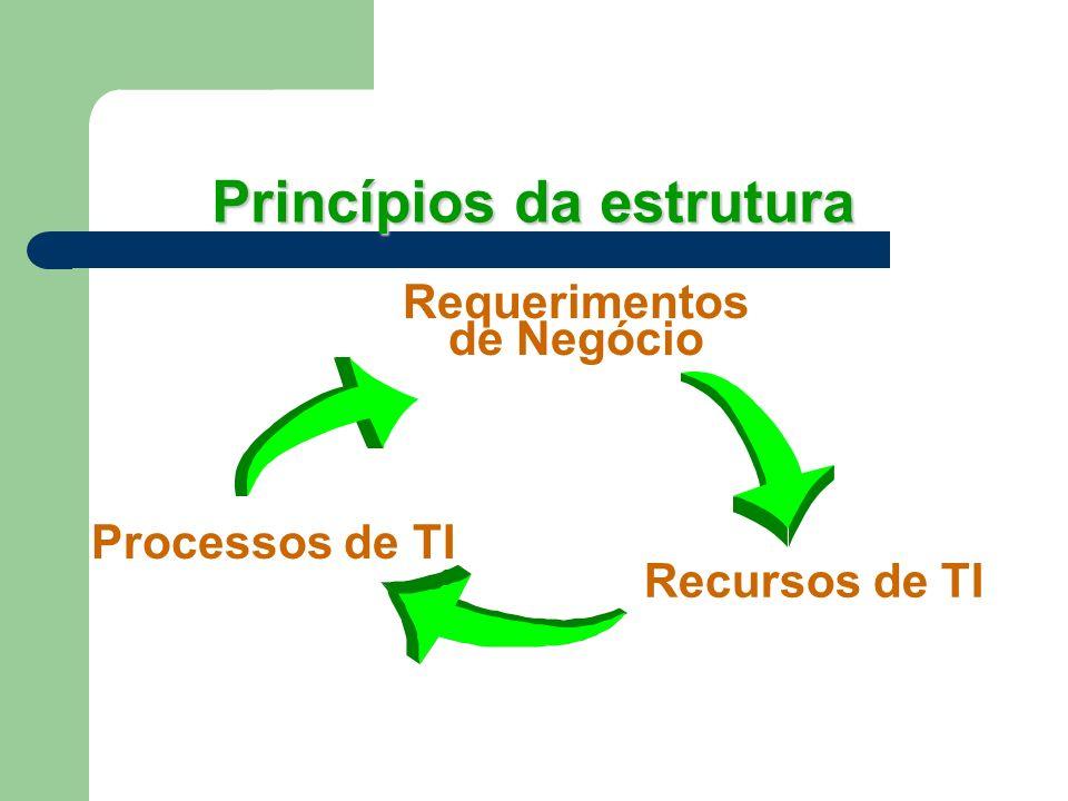 Princípios da estrutura Requerimentos de Negócio Processos de TI Recursos de TI