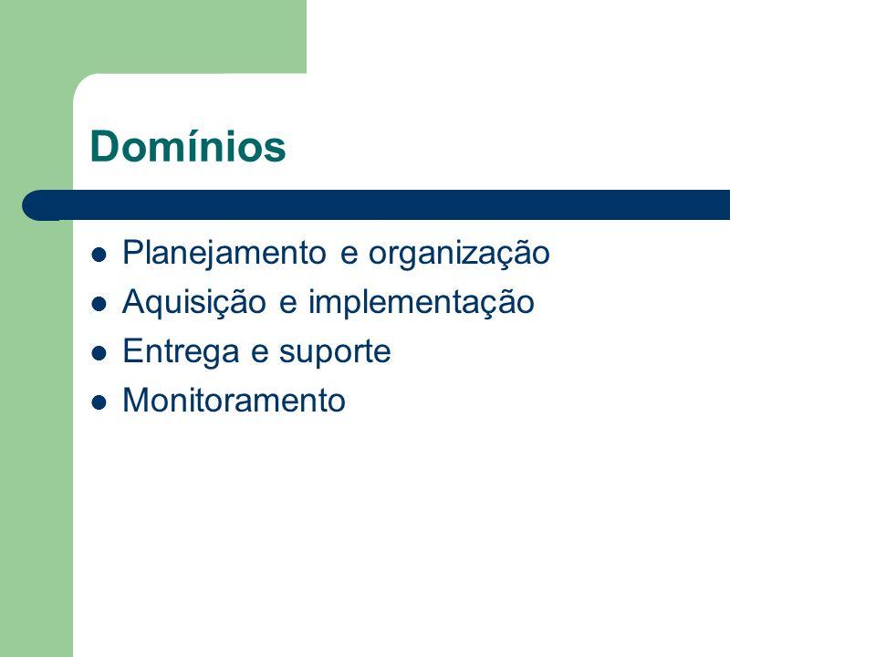 Domínios Planejamento e organização Aquisição e implementação Entrega e suporte Monitoramento