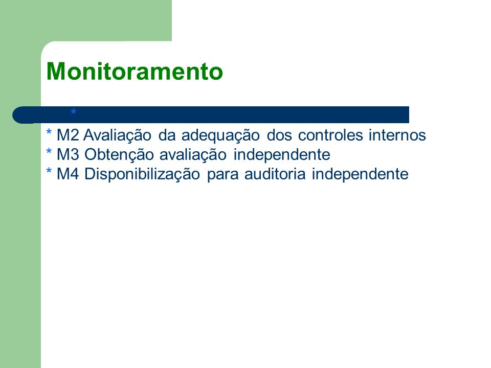 Monitoramento * M1 Monitoramento do Processo * M2 Avaliação da adequação dos controles internos * M3 Obtenção avaliação independente * M4 Disponibiliz