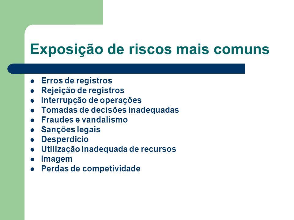 Exposição de riscos mais comuns Erros de registros Rejeição de registros Interrupção de operações Tomadas de decisões inadequadas Fraudes e vandalismo