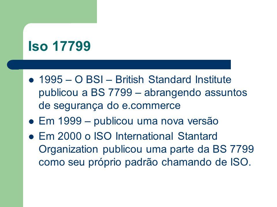 Iso 17799 1995 – O BSI – British Standard Institute publicou a BS 7799 – abrangendo assuntos de segurança do e.commerce Em 1999 – publicou uma nova ve