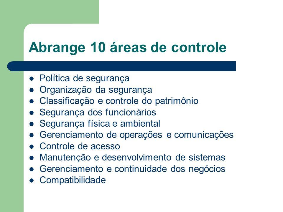 Abrange 10 áreas de controle Política de segurança Organização da segurança Classificação e controle do patrimônio Segurança dos funcionários Seguranç