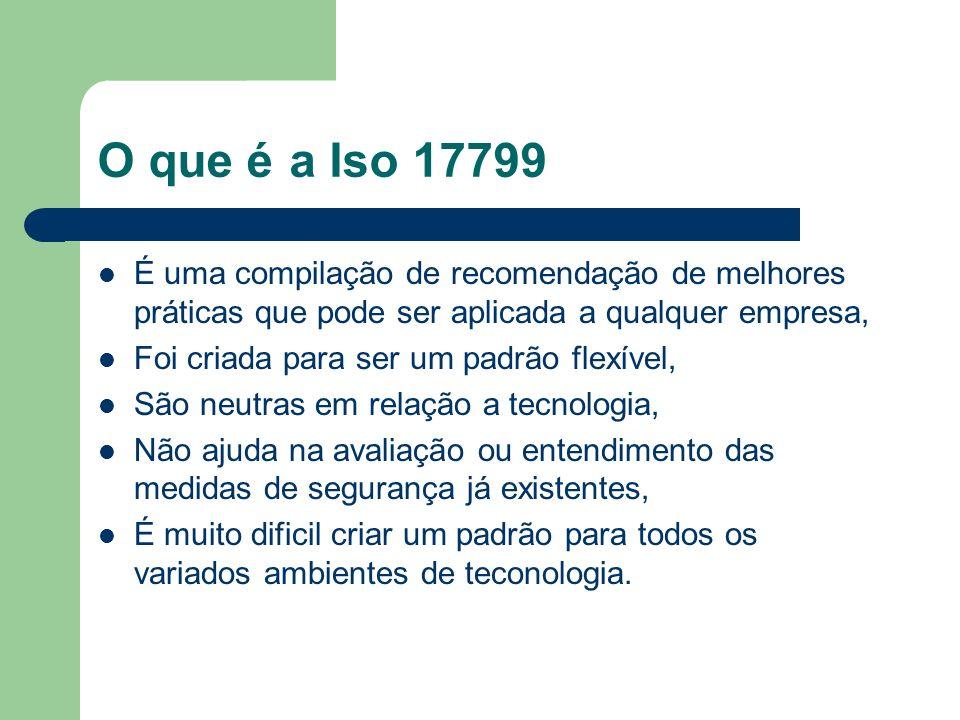 O que é a Iso 17799 É uma compilação de recomendação de melhores práticas que pode ser aplicada a qualquer empresa, Foi criada para ser um padrão flex