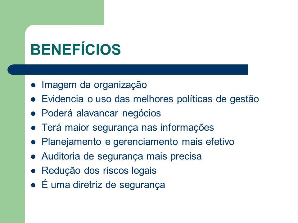 BENEFÍCIOS Imagem da organização Evidencia o uso das melhores políticas de gestão Poderá alavancar negócios Terá maior segurança nas informações Plane