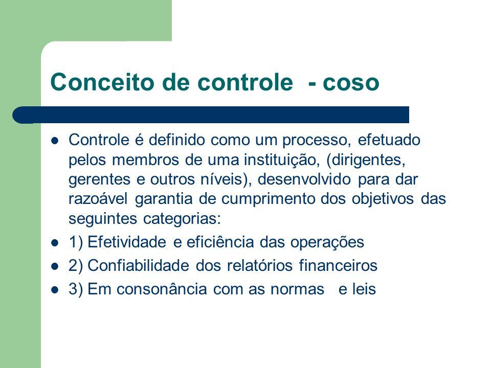 Conceito de controle - coso Controle é definido como um processo, efetuado pelos membros de uma instituição, (dirigentes, gerentes e outros níveis), d