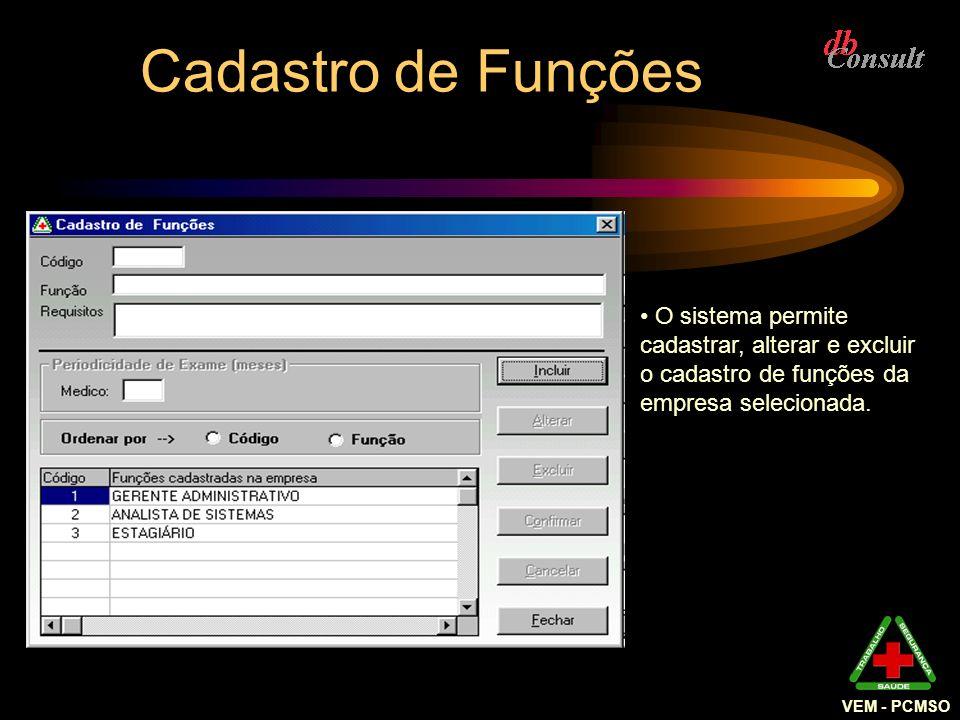 Cadastro de Funções O sistema permite cadastrar, alterar e excluir o cadastro de funções da empresa selecionada. VEM - PCMSO