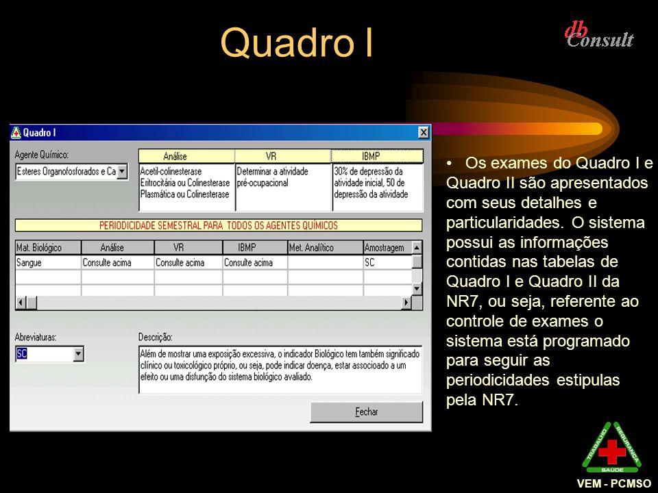 VEM - PCMSO Os exames do Quadro I e Quadro II são apresentados com seus detalhes e particularidades. O sistema possui as informações contidas nas tabe