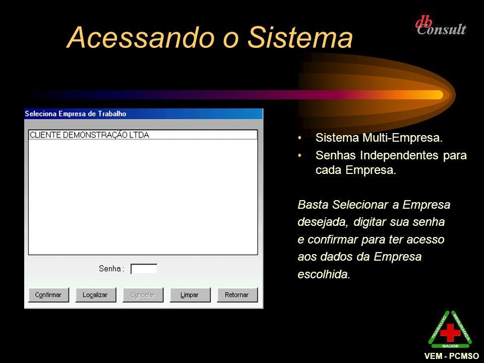 A Empresa Selecionada O nome da Empresa que está sendo trabalhada no momento aparece na barra de título da janela do Sistema ao lado deVEM -PCMSO.