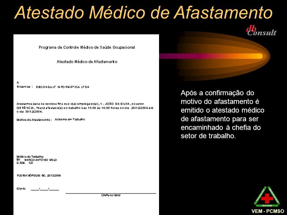 Atestado Médico de Afastamento Após a confirmação do motivo do afastamento é emitido o atestado médico de afastamento para ser encaminhado à chefia do