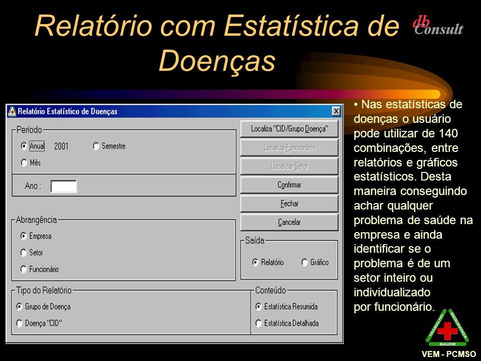 VEM - PCMSO Relatório com Estatística de Doenças Nas estatísticas de doenças o usuário pode utilizar de 140 combinações, entre relatórios e gráficos e